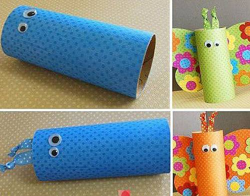 Glue the rolls with colored cardboard and glue the eyes.